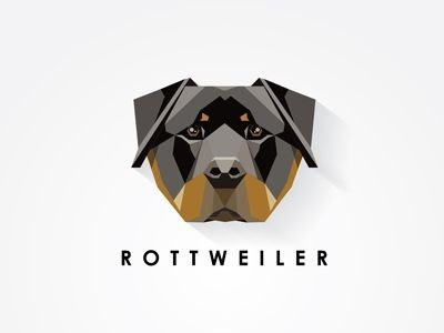 Beautiful colorful geometric rottweiler face tattoo design