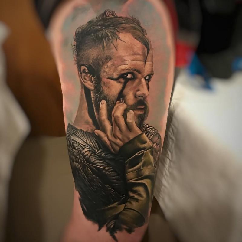 Beautiful colorful portrait of Floki tattoo by Murilo