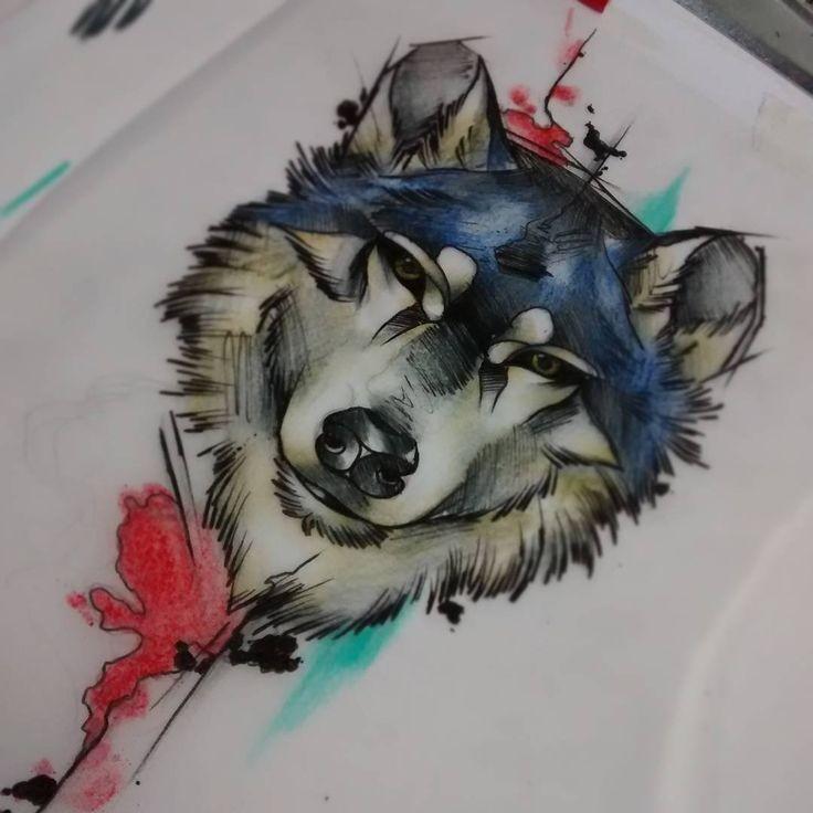 Beautiful colorful wild animal portrait tattoo design