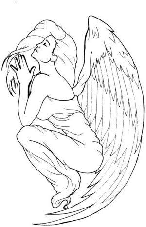 Beautiful colorless sitting praying angel woman tattoo design