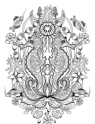 Beautiful colorless water animal collage tattoo design