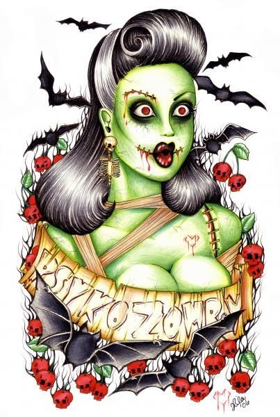 Beautiful confused green zombie woman portrait with flying bats tattoo design