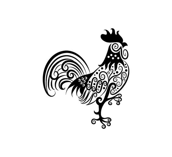Beautiful curl-decorated rooster tattoo design