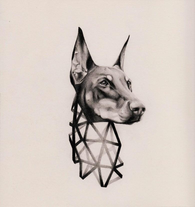 Beautiful doberman head with geometric-style neck tattoo design