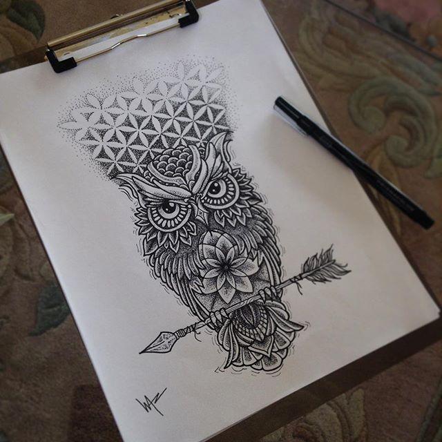 Beautiful dotwork owl sitting on arrow with geometric background tattoo design