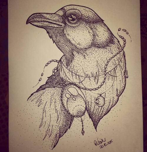 Beautiful dotwork raven portrait with gem decoration tattoo design