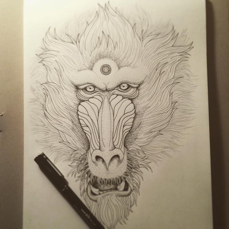 Beautiful fluffy dotwork-style baboon face tattoo design