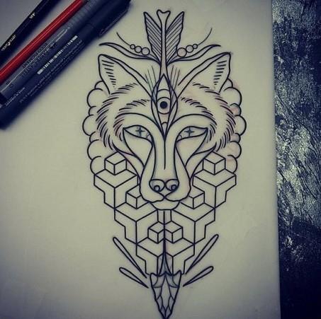 Beautiful fox head pierced with arrow and geometric elements tattoo design