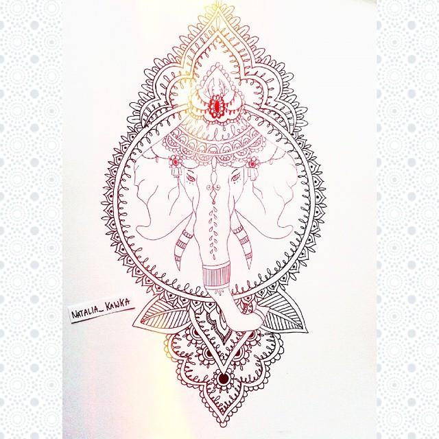 Beautiful ganesha elephant head in decorated frame tattoo design