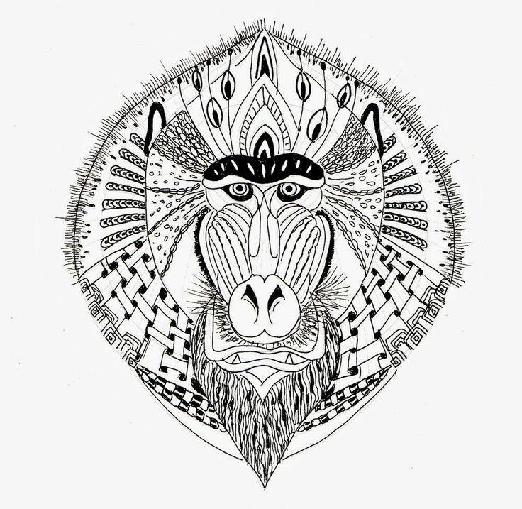 Beautiful geometric-patterned baboon muzzle tattoo design