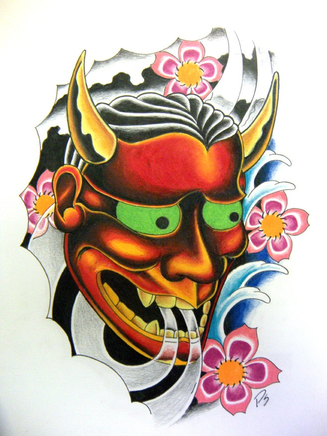 Beautiful green-eyed japanese devil and cherry blossom tattoo design