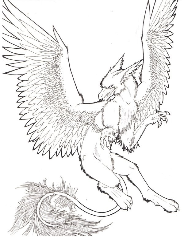 Beautiful grey-ink flying griffin tattoo design by Ola The Lamshin