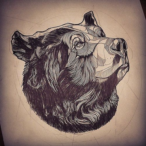 Beautiful grey-ink thinking grizzly portrait tattoo design