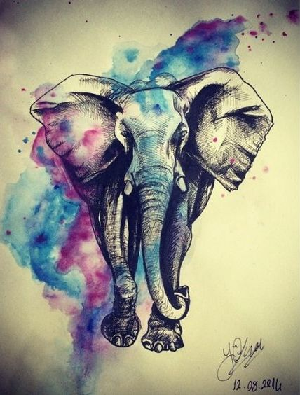 Beautiful grey elephant on purple-and-blue watercolor background tattoo design
