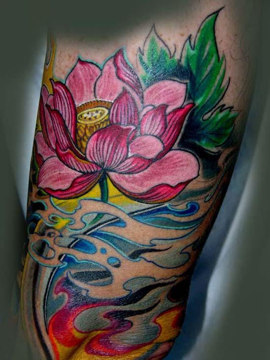 awesome pale pink japanese lotus flowers in waves tattoo on upper, Natural flower