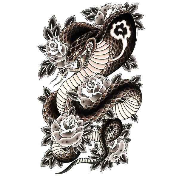 beautiful japanese snake with black roses tattoo design. Black Bedroom Furniture Sets. Home Design Ideas