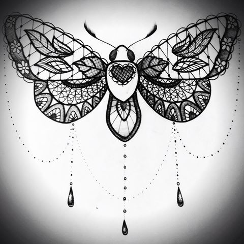 Beautiful lace ornamented butterfly with heart sign body tattoo design