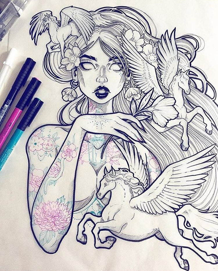 Beautiful new school colorless woman portrait with flying pegasus tattoo design