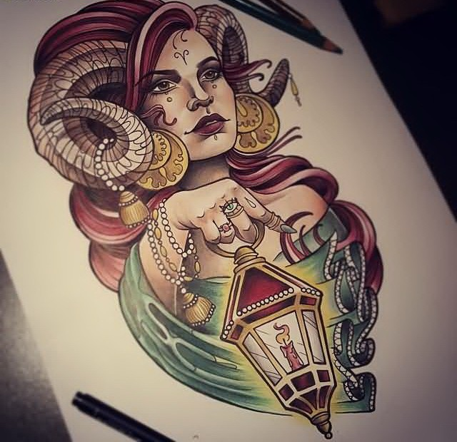 Beautiful New School Woman With Ram Horns And Lamp Tattoo Design    Tattooimages.biz