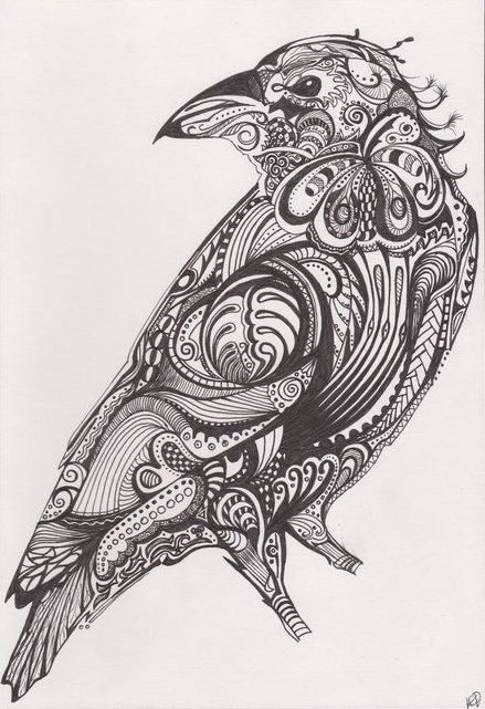 Beautiful ornamented raven tattoo design