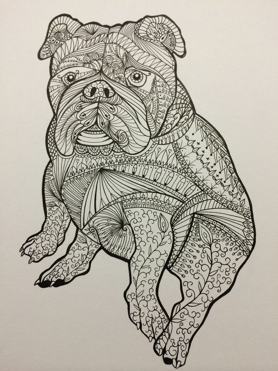 Beautiful ornamented sitting bulldog puppy tattoo design