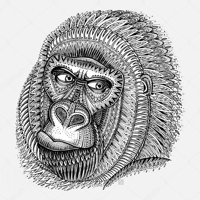 Beautiful ornate gorilla portrait tattoo design