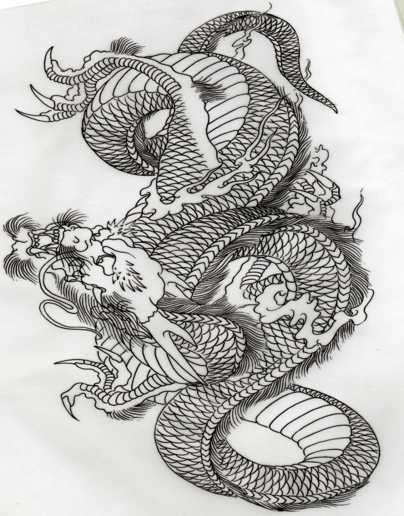 beautiful outline chinese dragon tattoo design tattooimagesbiz