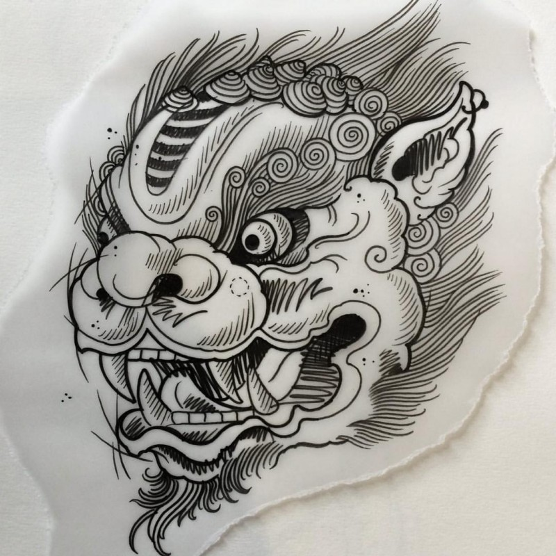 Beautiful outline chinese style foo dog tattoo design