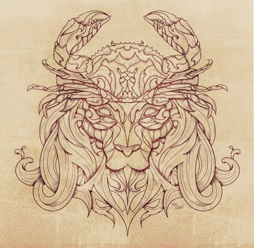 Beautiful outline lion head with crab on top tattoo design