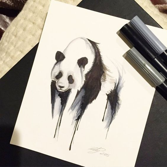 Beautiful panda with smudged paws tattoo design