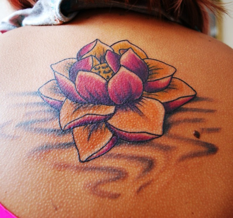 Beautiful Pretty Lotus Flower Tattoo For Girls On Upper Back