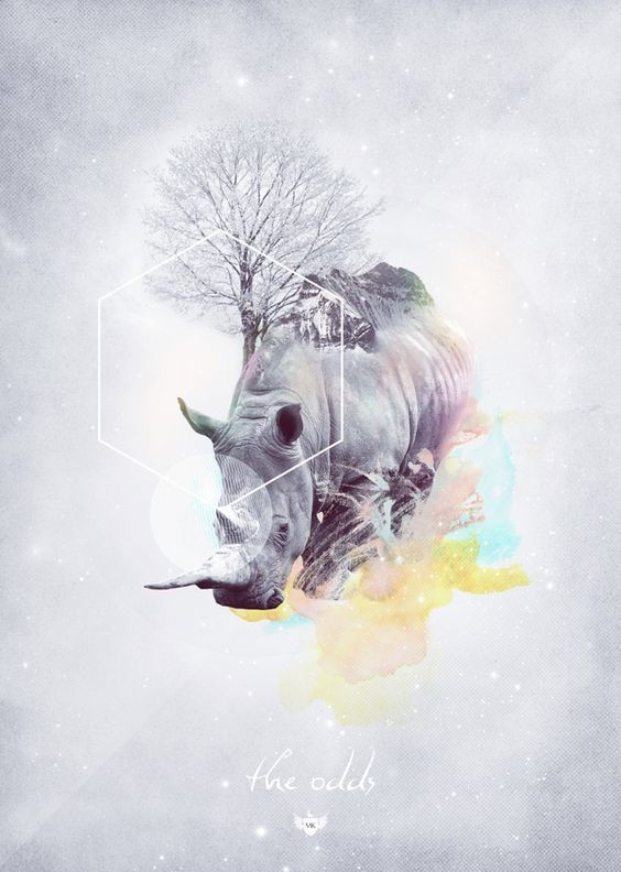 Beautiful rhino and tree with geometric elements tattoo design