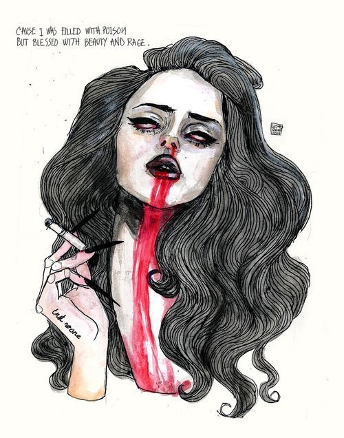 Beautiful smoking vampire girl with blooded mouth tattoo design