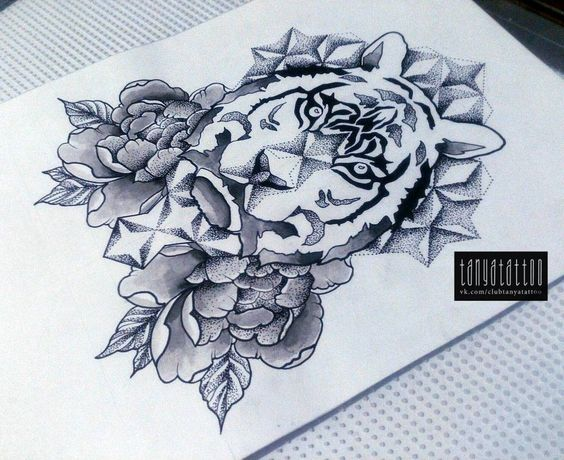 Beautiful tiger head with peonies and dotwork geometric figures tattoo design