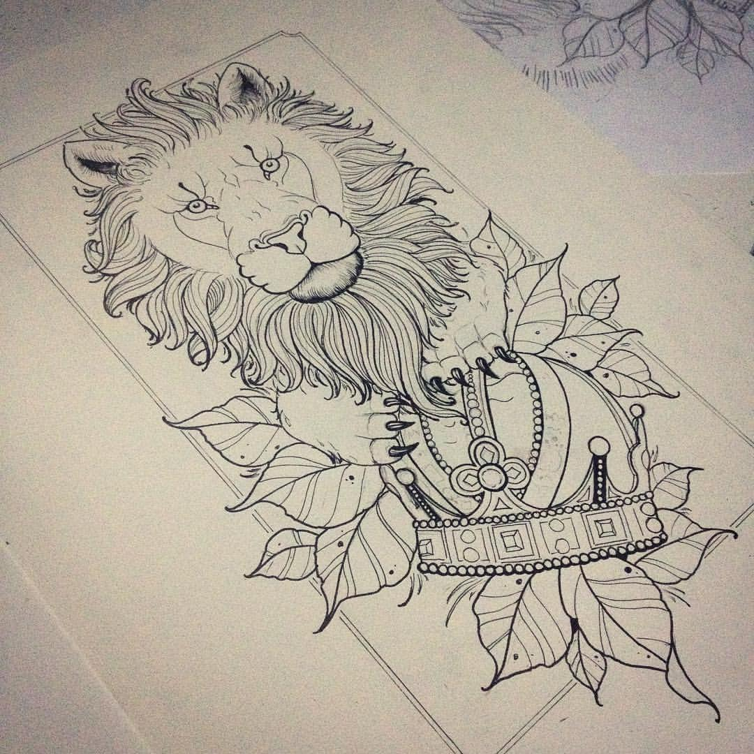 Beautiful Uncolored Lion Protecting His Crown Tattoo Design