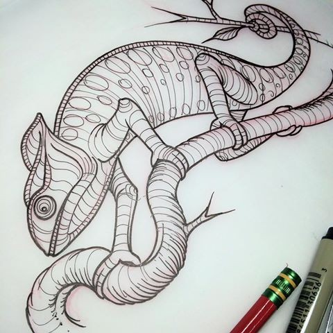 Beautiful uncolored new school chameleon crawling on branch tattoo design