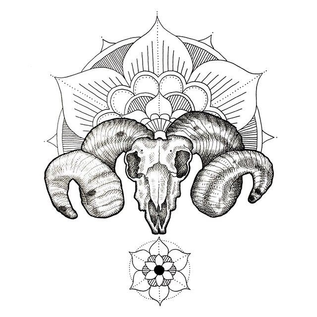 Beautiful uncolored ram skull with mandala decorations tattoo design