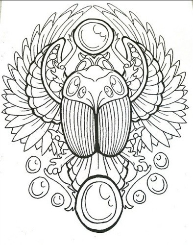 Beautiful uncolored striped scarab bug on detailed background tattoo design