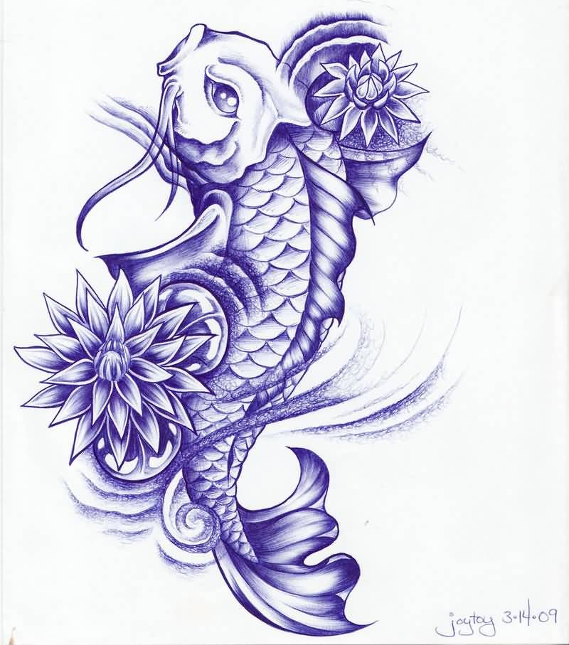 Beautiful Violet Color Koi Fish And Lotus Flowers Tattoo Design