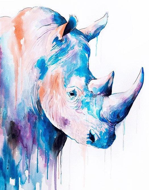 Beautiful watercolor rhino portrait tattoo design