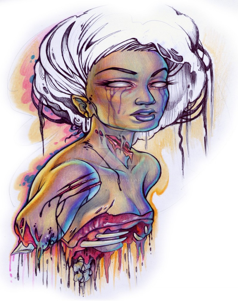 Beautiful white-haired zombie pin up girl tattoo design by Pallat