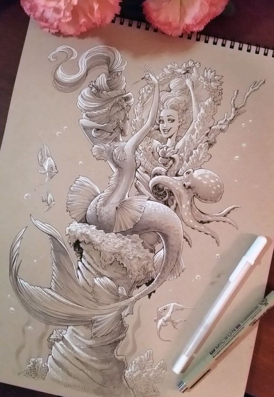 Beautiful white-ink mermaid preparing herself in front of the mirror tattoo design
