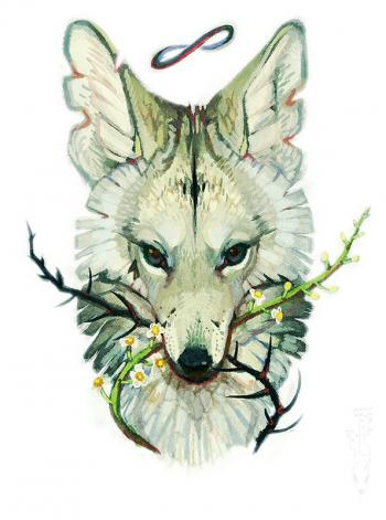 Beautiful white wolf with tree branches in teeth tattoo design