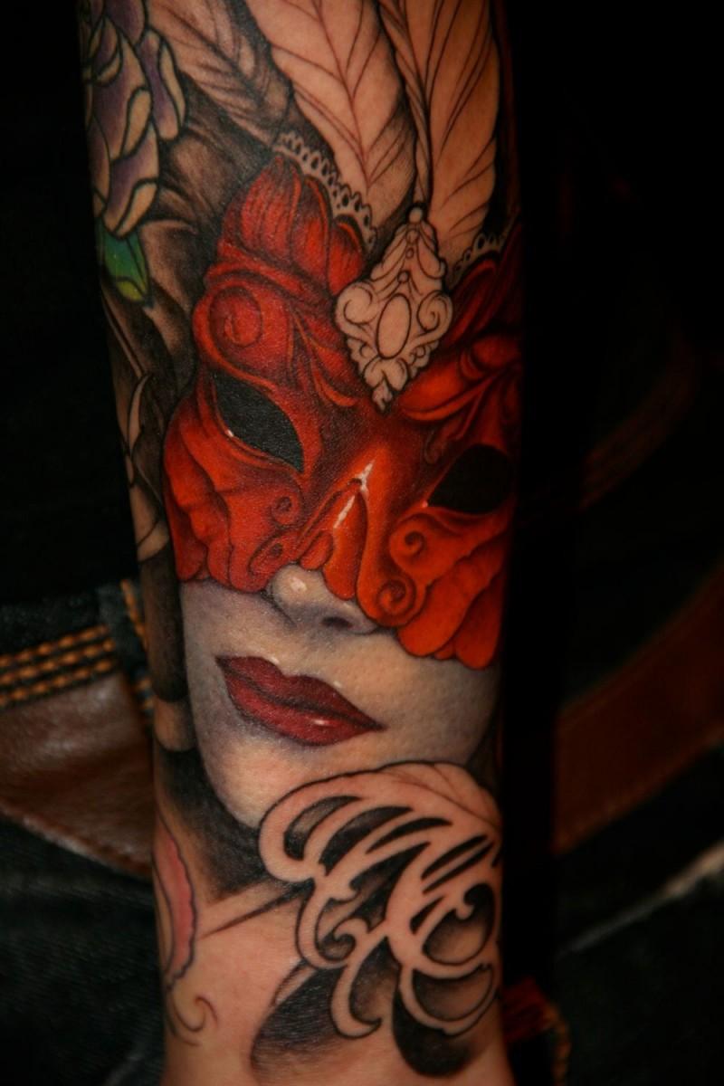 Beautiful woman in red mask tattoo
