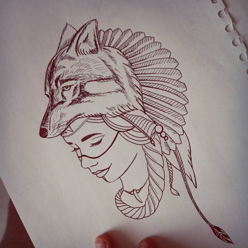 Beautiful Young Indian Woman In Wolf Feathered Hat Tattoo Design