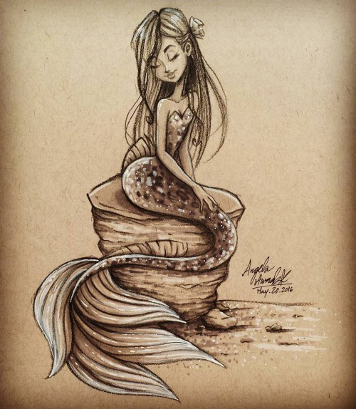 Beautiful young mermaid dreaming on rock tattoo design