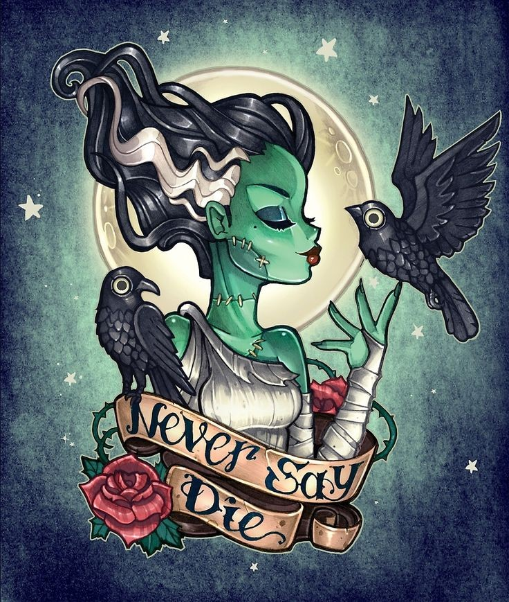 Beautiful zombie girl with a raven curled with a banner tattoo design