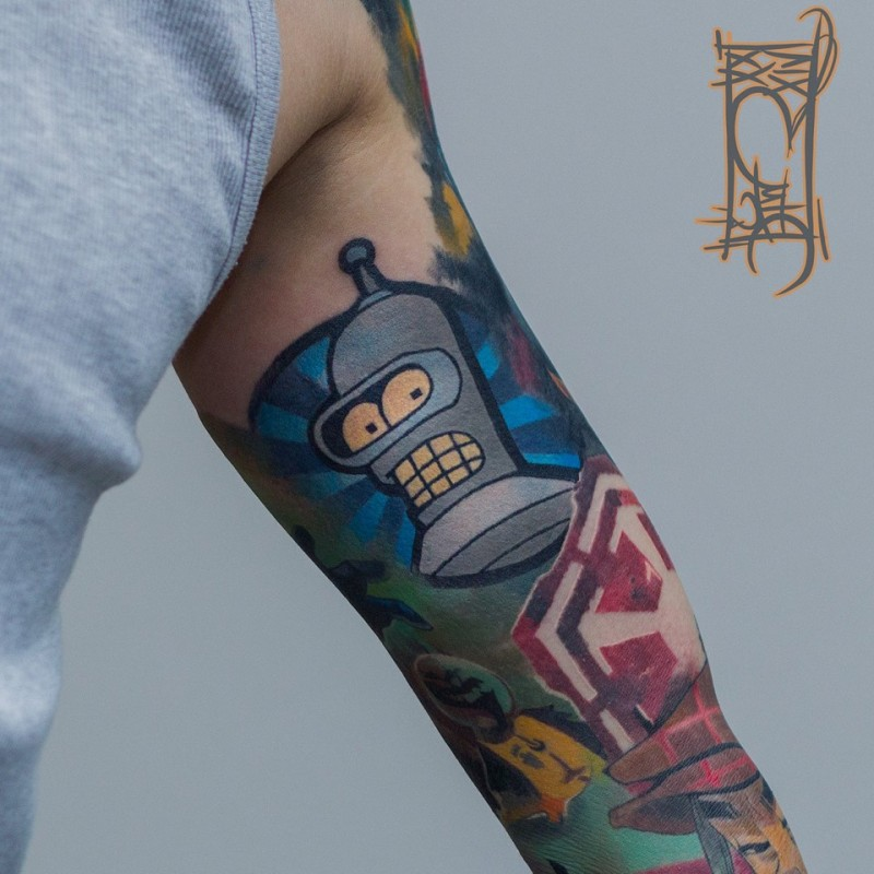 Bender cartoon tattoo on inner arm
