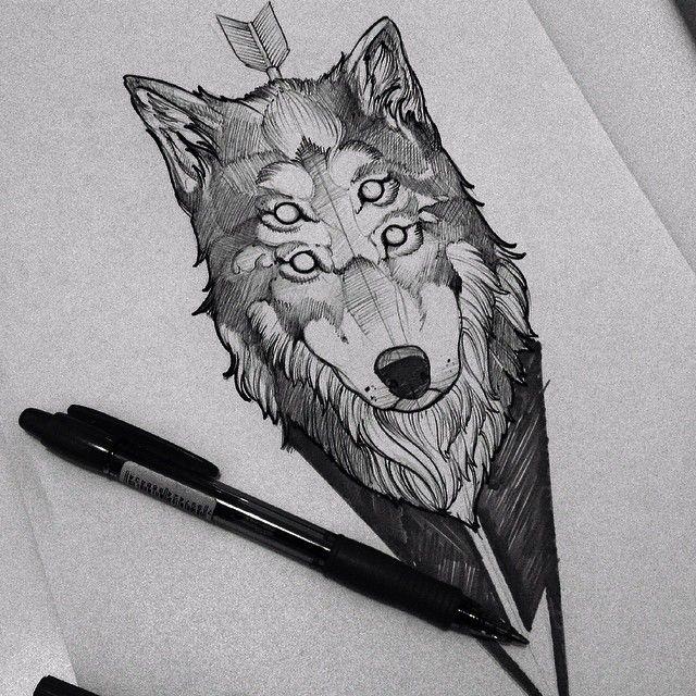 Bifurcate wolf head pierced with arrow tattoo design
