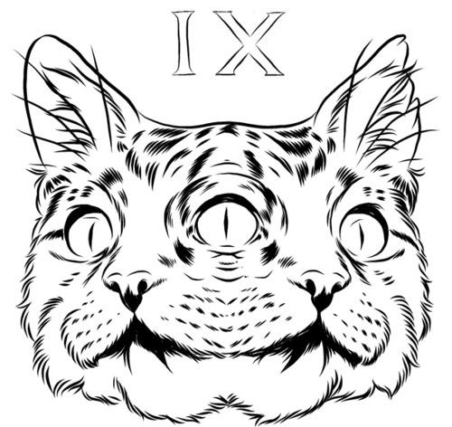Bifurcated Uncolored Cat Head Tattoo Design Tattooimages Biz